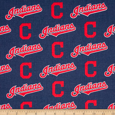 Cleveland Indians Fabric by the Yard or Half Yard, Licensed MLB, Cotton Fabric