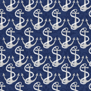 Navy Anchors, Fabric by the yard and half yard, Coastal Dreams