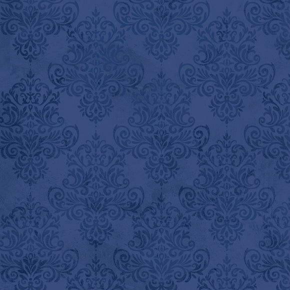 Half Yard Left, Navy Tonal Damask, Fabric by the yard and half yard, Coastal Dreams
