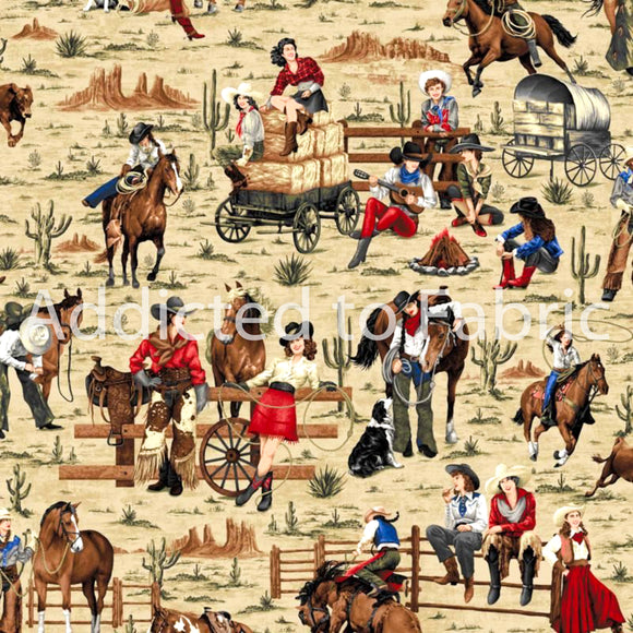 Cowgirl Spirit, Cowgirls Fabric by the Yard and Half Yard, Horses, Western Fabric