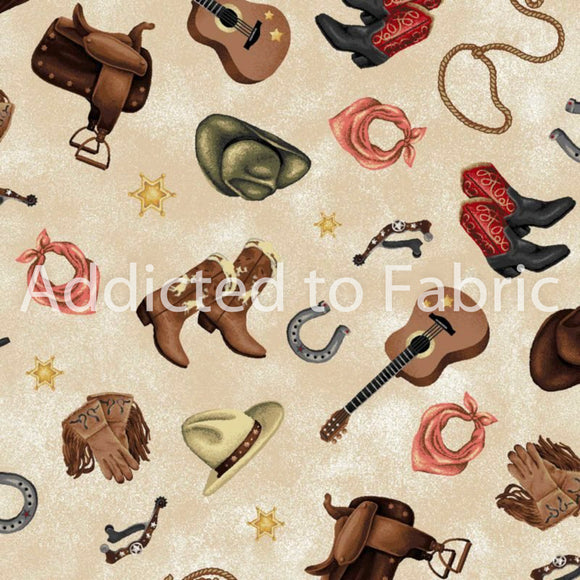 Cowgirl Spirit, Boots, Hats and Guitars Fabric by the Yard and Half Yard, Western Fabric