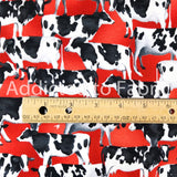 Cows on Red, Dairy Cows Fabric by the Yard and Half Yard by Studio E, Red Cows