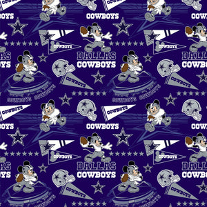Dallas Cowboys, Disney Mickey Mouse Fabric by 1/4, 1/2 or Continuous Yard(s)