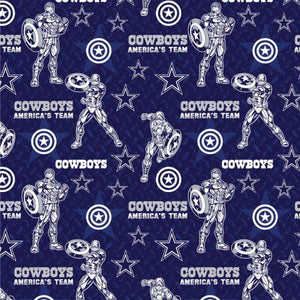 Dallas Cowboys, Marvel Captain America Fabric by 1/4, 1/2 or Continuous Yard(s)