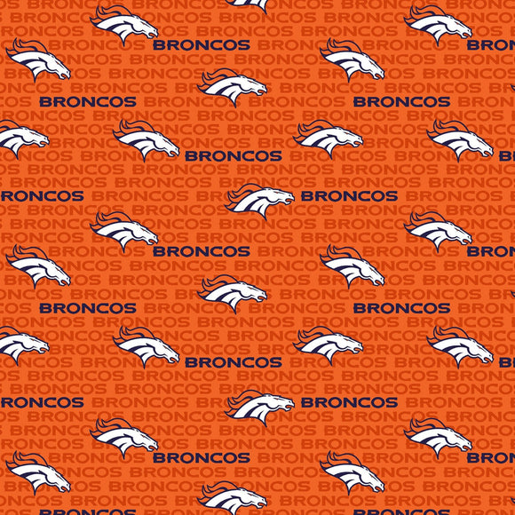 Denver Broncos Fabric by the Yard, Half Yard, Mini Print, NFL Cotton Fabric