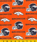 Denver Broncos Fabric by the 1/4Yard or 1/2 Yard, NFL Cotton Fabric