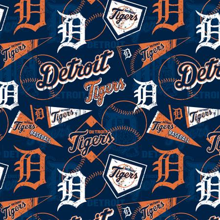 Detroit Tigers Fabric by the Yard, by the Half Yard, MLB Cotton Fabric, Retro Theme
