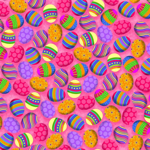 Hello Spring, Bright Pink Easter Fabric by the Yard and Half Yard, Easter Eggs
