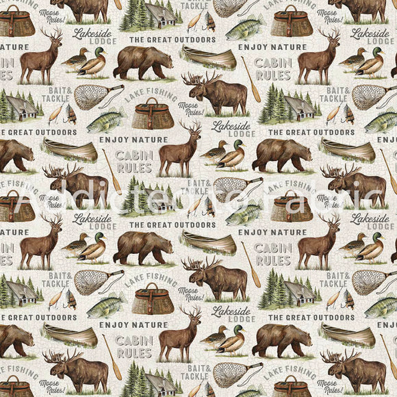 FLANNEL - Lakeside Lodge Fabric by the Yard, Half Yard, Northcott, Animals Light