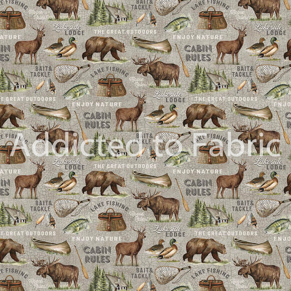 FLANNEL - Lakeside Lodge Fabric by the Yard, Half Yard, Northcott, Animals Gray
