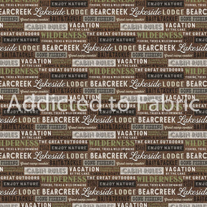 FLANNEL - Lakeside Lodge Fabric by the Yard, Half Yard, Northcott, Word Blocks, Signs
