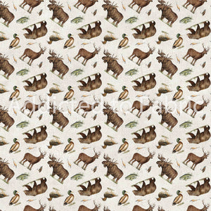 FLANNEL - Lakeside Lodge Fabric by the Yard, Half Yard, Northcott, Animal Toss