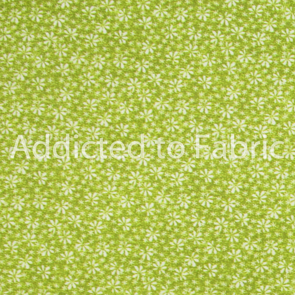 Small Daisies on Green Floral, Fabric by the Yard, by the Half Yard