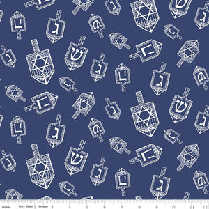 Festival of Lights Fabric by the Yard or Half Yard, Dreidel Toss, Blue, Hanukkah