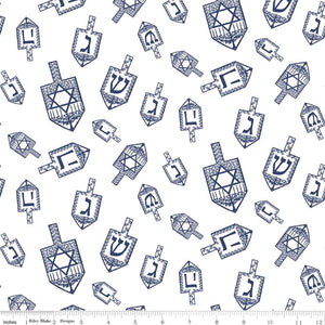 Festival of Lights Fabric by the Yard or Half Yard, Dreidel Toss, White, Hanukkah