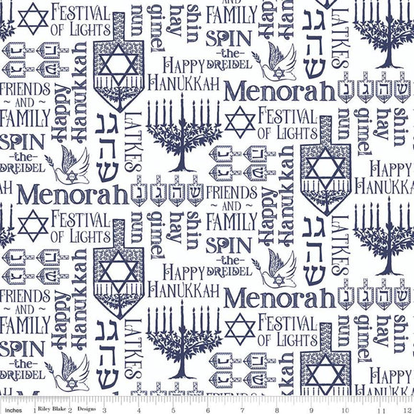 Festival of Lights Fabric by the Yard or Half Yard, Menorah Symbols, White, Hanukkah