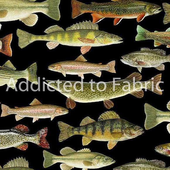 Fishing Trophies Fabric by the Yard or Half Yard, Lakeside Cabin Collection, Trout, Salmon