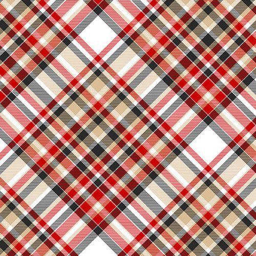 FLANNEL Bias Plaid, Red and Tan Fabric by the Yard or Half Yard, Henry Glass
