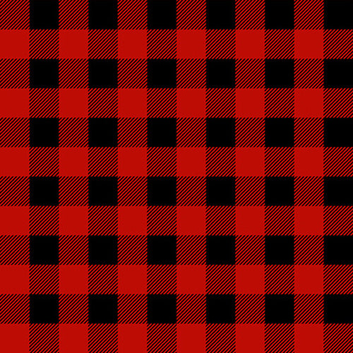 FLANNEL Gnomes Buffalo Plaid Red and Black, Fabric by the Yard or Half Yard, Henry Glass