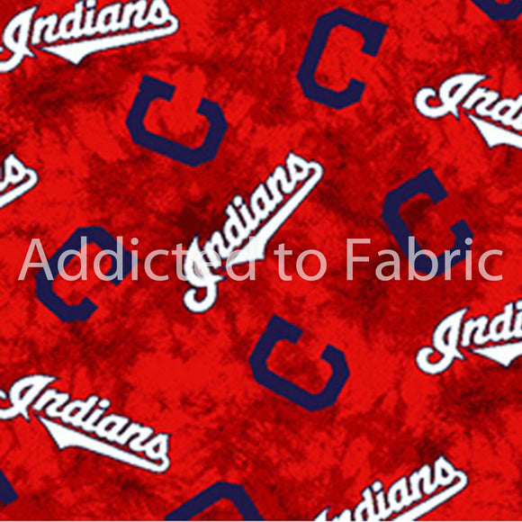 FLANNEL - Cleveland Indians Fabric by the Yard or Half Yard, MLB Fabric