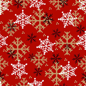 FLANNEL Gnomes Snowflakes on Red, Fabric by the Yard or Half Yard, Henry Glass