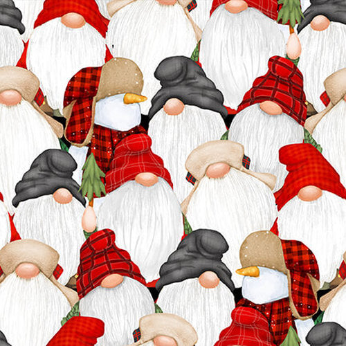 FLANNEL Stacked Gnomes Fabric by the Yard or Half Yard, Henry Glass