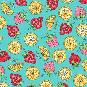 Flannel - Strawberries and Lemon Fabric by the Yard and Half Yard, Mint, Aqua