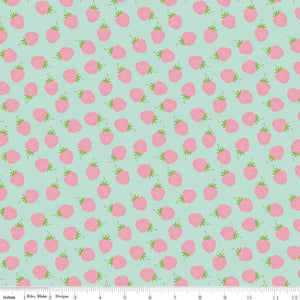 Flannel - Strawberries Fabric by the Yard and Half Yard, Mint, Aqua