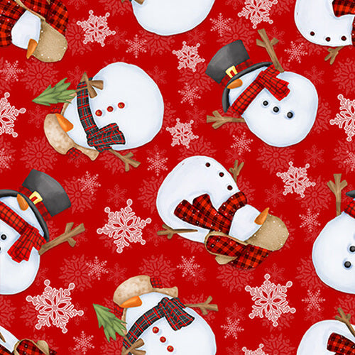 FLANNEL Tossed Snowmen on Red Fabric by the Yard or Half Yard, Henry Glass