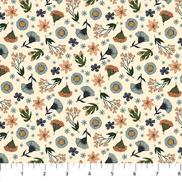 Bee Kind Floral Toss Cream, Fabric by the Yard, Northcott, Honeycomb