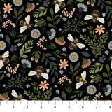Bee Kind Floral & Bee Toss Black, Fabric by the Yard, Northcott, Honeycomb