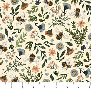 Bee Kind Floral & Bee Toss Cream, Fabric by the Yard, Northcott, Honeycomb