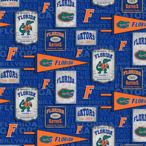 Florida Gators Fabric by the Yard or by Half Yard, Vintage Pennant