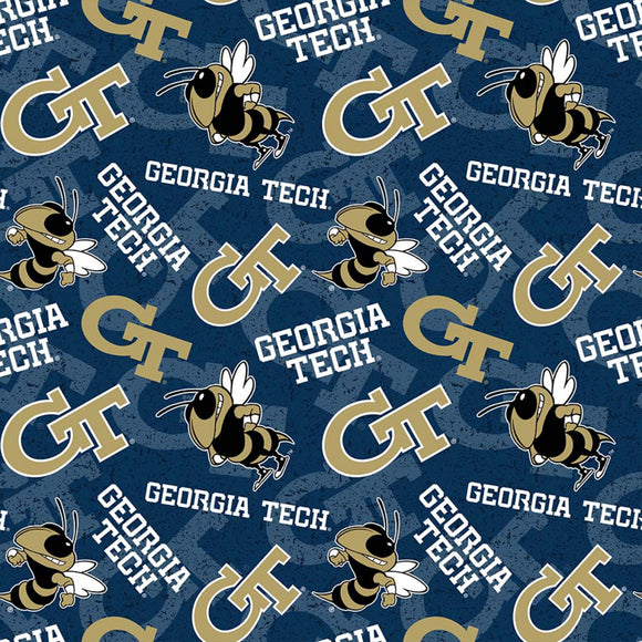 Georgia Tech Fabric by the Yard, Fabric by the Half Yard, Yellow Jackets