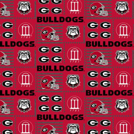 University of Georgia Bulldogs Fabric by the Yard or Half Yard, Patch, NCAA Licensed Fabric