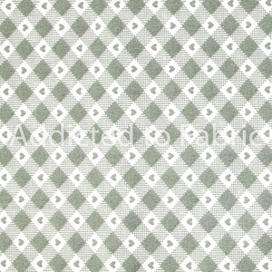Gingham Fabric by the Yard, by the Half Yard, Light Sage Green with Heart