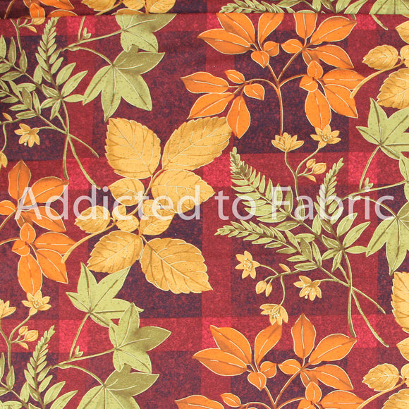 Daisy Kingdom Golden Leaves Fabric by the Yard, by the Half Yard, Fall, Autumn