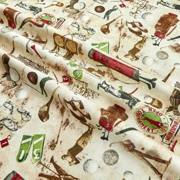 Golf Fabric by the Yard and Half Yard, Golfing, Timeless Treasures, Golf Coffee