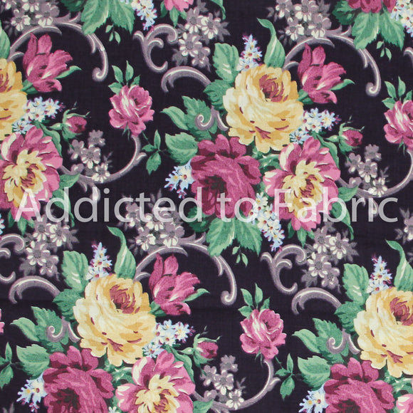 Grannies Roses, Daisy Kingdom, Fabric by the Yard, by the Half Yard