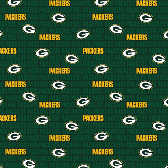 Green Bay Packers Fabric by the Yard or Half Yard, Mini Print, NFL Cotton Fabric