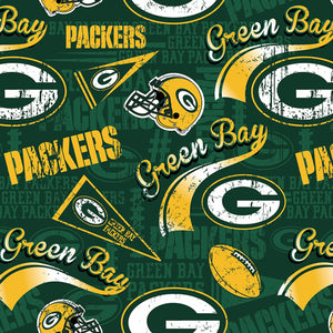 Green Bay Packers Fabric by the Yard or Half Yard, NFL Cotton Fabric, NFL Fabric
