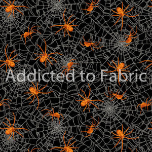 Halloween Fabric by the Yard, Half Yard, Spiders on Spider Web, Studio E