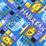 Hanukkah Fabric by the Yard or Half Yard, Patches, Cotton