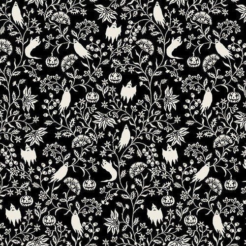 Harvest Moon Ghostly Vine, Halloween Fabric by the Yard, Half Yard, Black and White