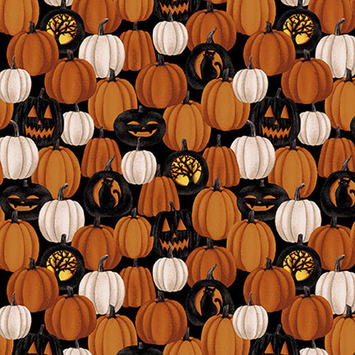 Harvest Moon Halloween Small Pumpkins Fabric by the Yard, Half Yard, Studio E
