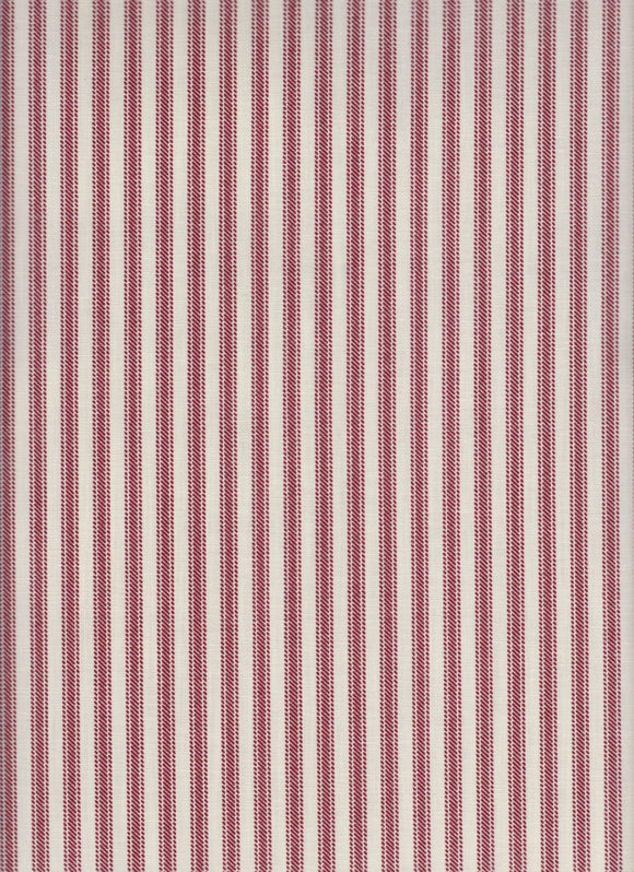 Half Yard Left - Farmhouse Harvest Ticking Crafting Fabric Cotton/Poly Cranberry