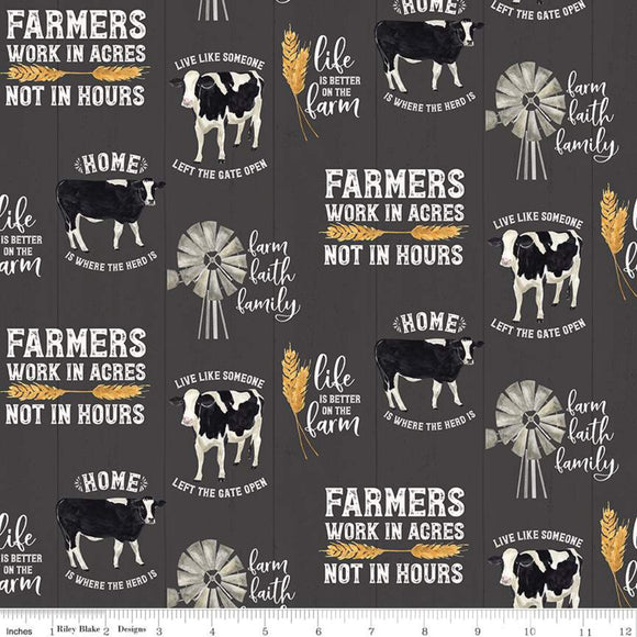 Homestead Life Main Charcoal Fabric by the Yard and Half Yard, Farm, Riley Blake