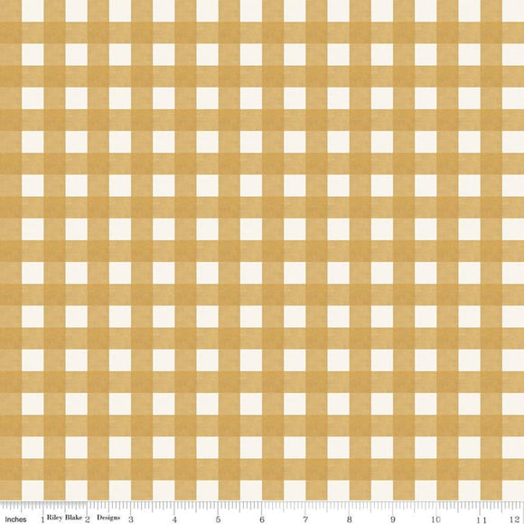 Homestead Life Gingham Harvest Gold Fabric by the Yard and Half Yard, Farm, Riley Blake