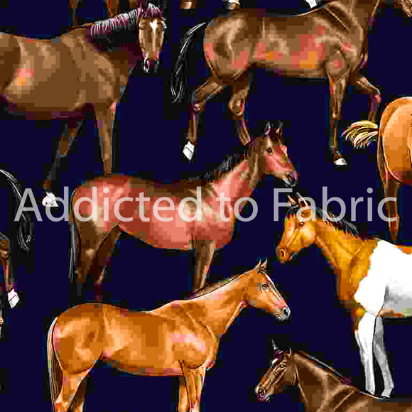 Horses on Navy Fabric by the Yard and Half Yard, Horse Fabric, Western Fabric