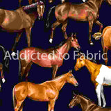 Horses on Navy Fabric by the Yard and Half Yard, Horse Fabric, Western Fabric, Farm Horse